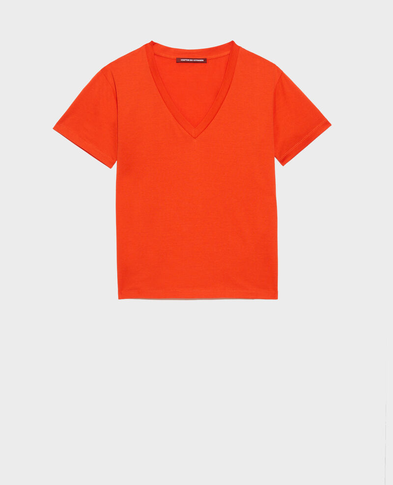 V-neck cotton t-shirt Spicy orange Laberne