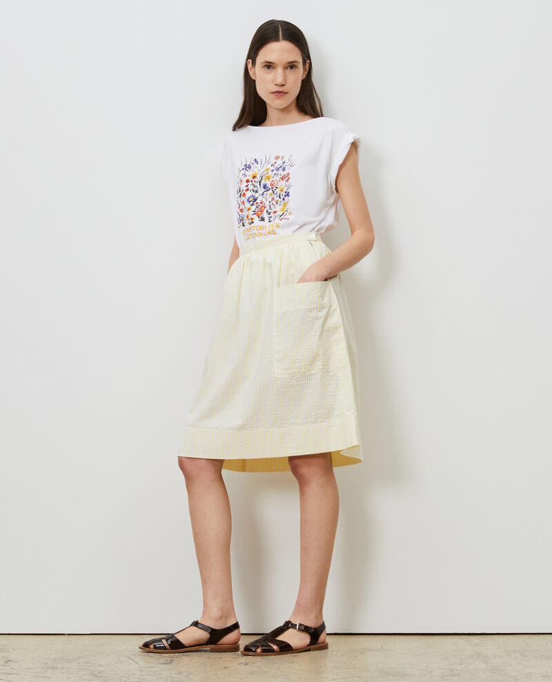 Cotton seersucker midi skirt Str lemon white Nebaral