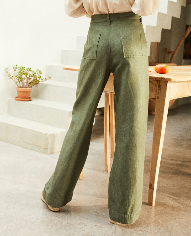 Linen blend trousers Cheng olive Ivox