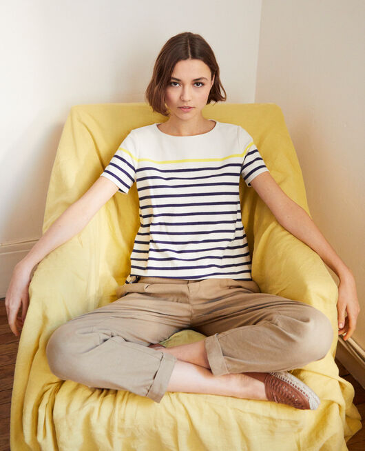 Striped T-shirt OW/NAVY/YELLO