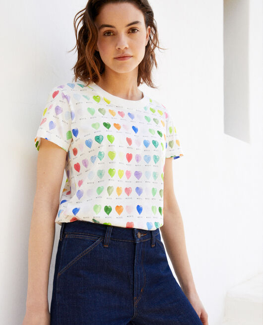 Heart print t-shirt OFF WHITE