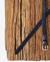 Braided leather belt Navy Frise