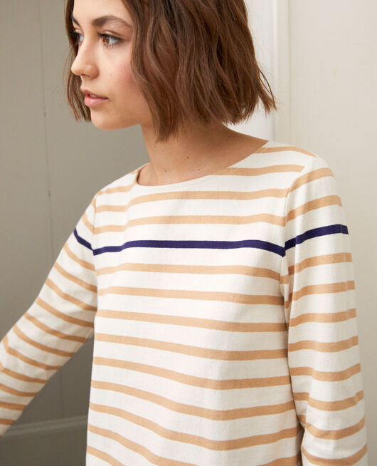 Striped T-shirt OW/CAMEL/NAVY