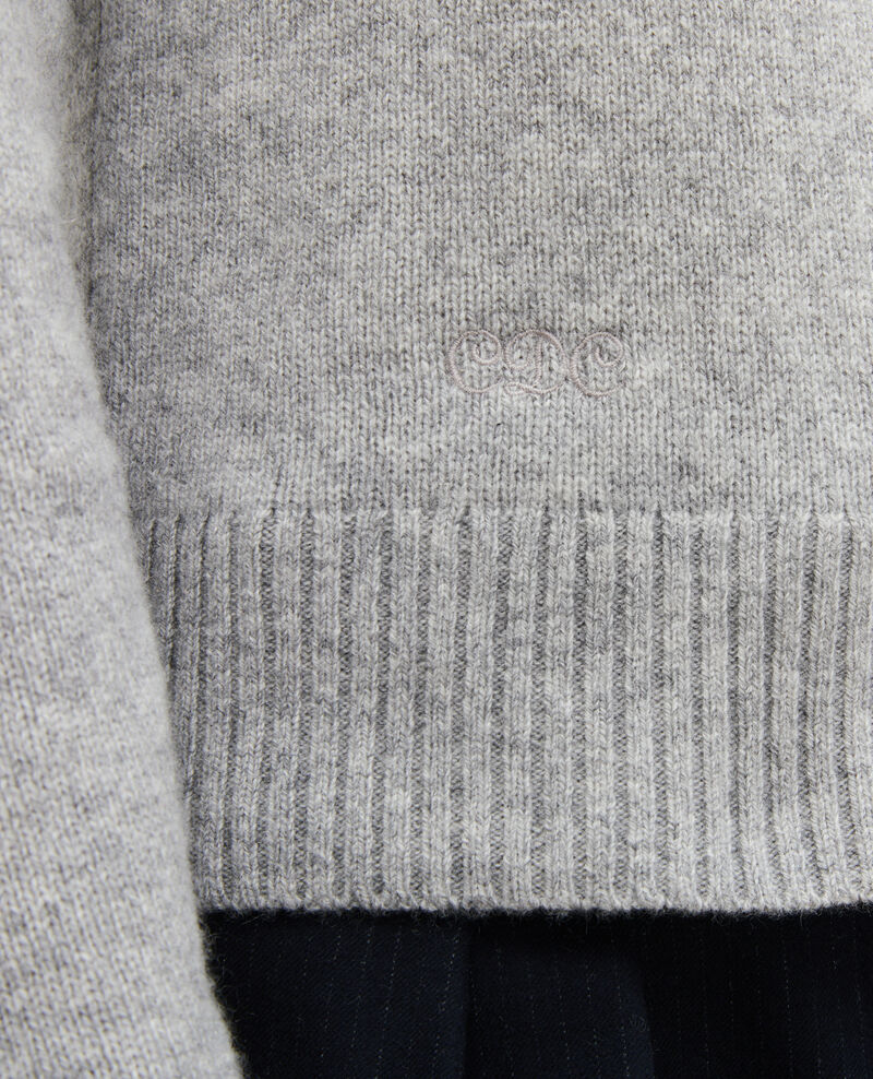 V-neck cashmere jumper Light grey melange Millac