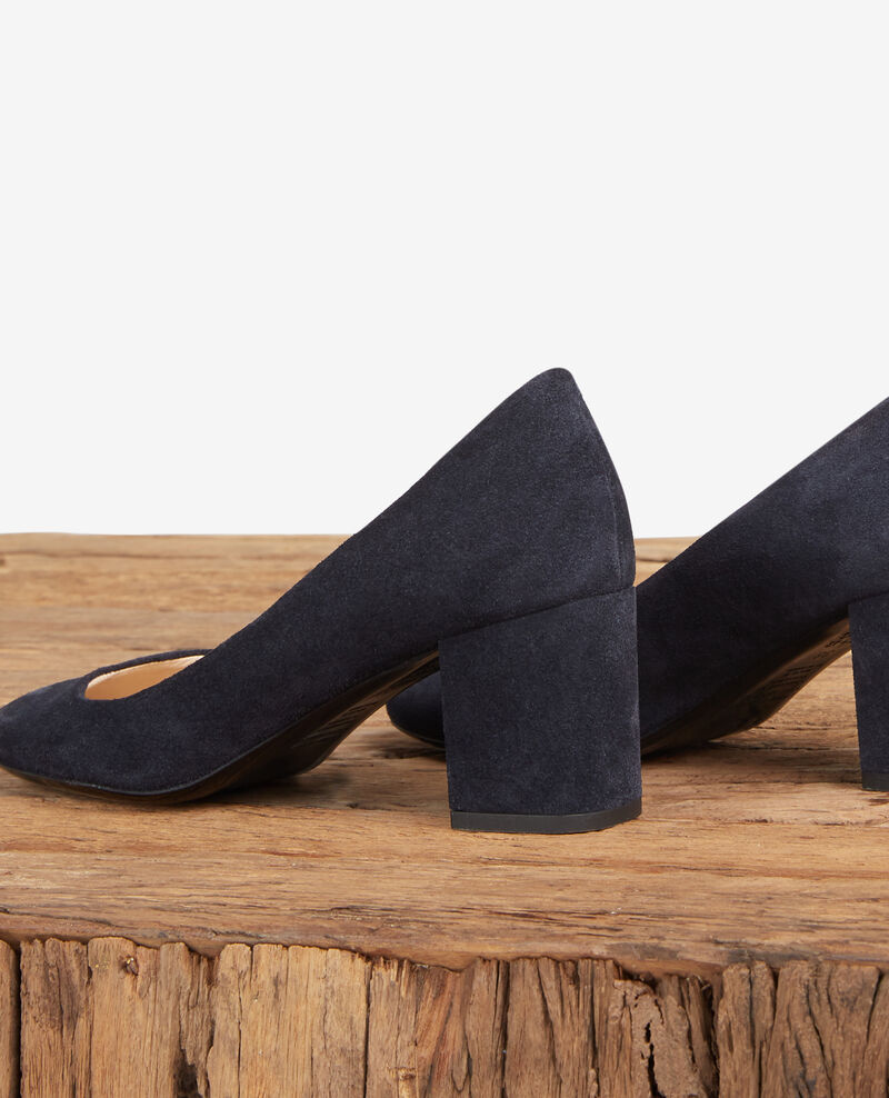 Velours leather high-heeled shoes Navy Debabies