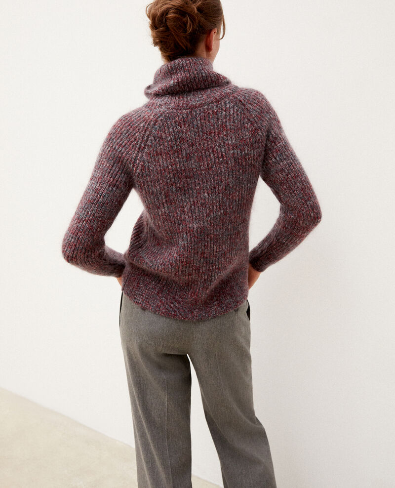 Mohair blend roll neck jumper Rio red/ever green/off white Gummy