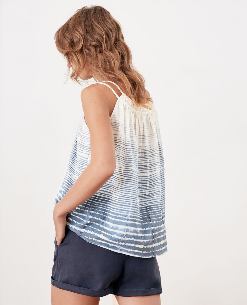 Top with spaghetti straps Tie&dye washed blue Funny