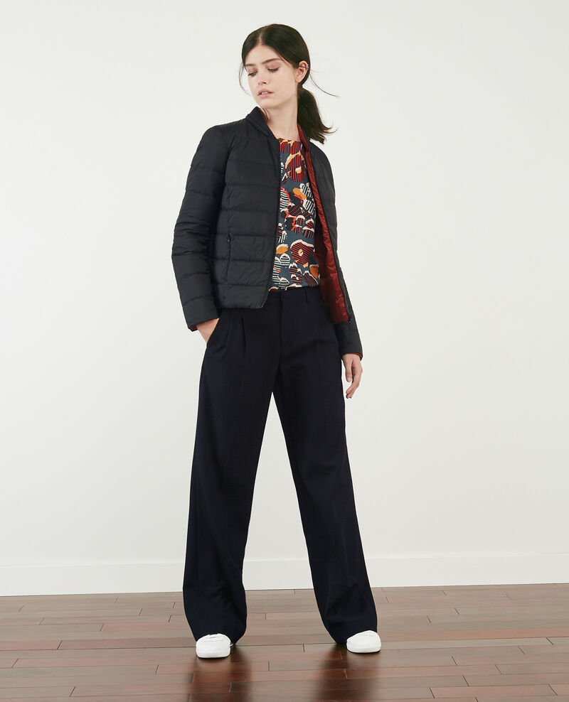 Wool blend wide trousers Navy Declic