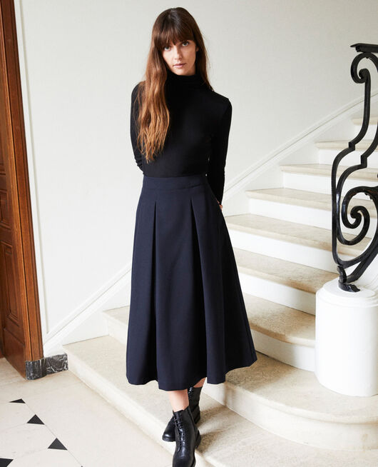 Mid-length skirt DARK NAVY