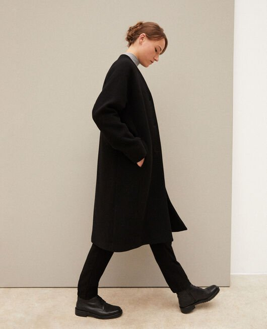 Collarless coat NOIR