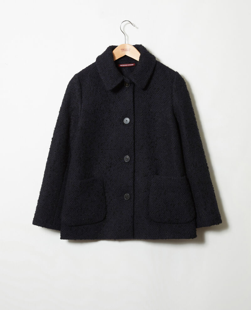 Boiled wool coat Navy Janglais