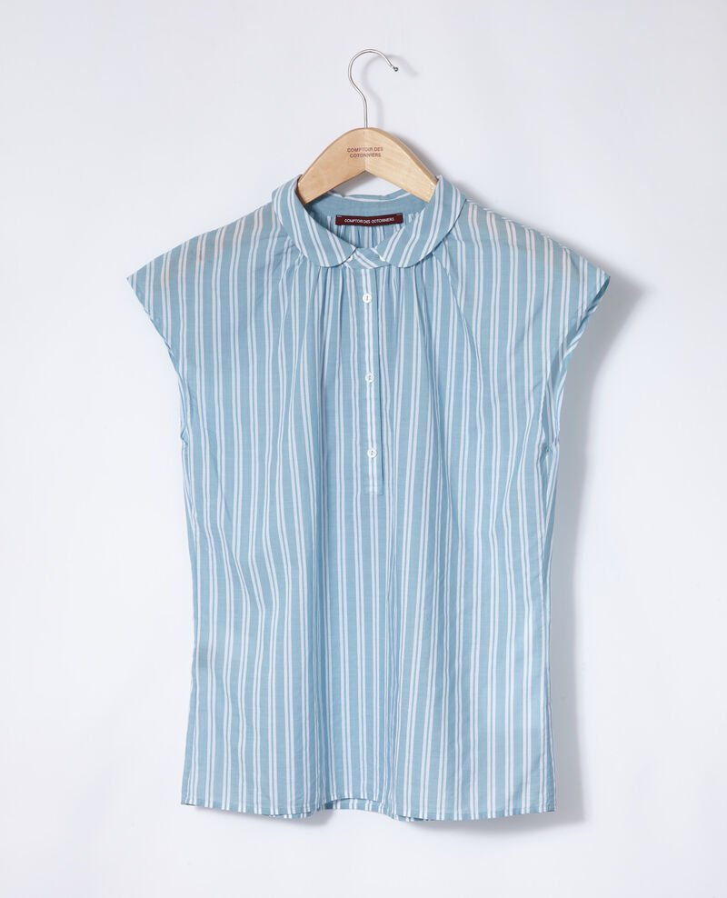 Shirt with round collar Adriatic/off white stripes Garconne