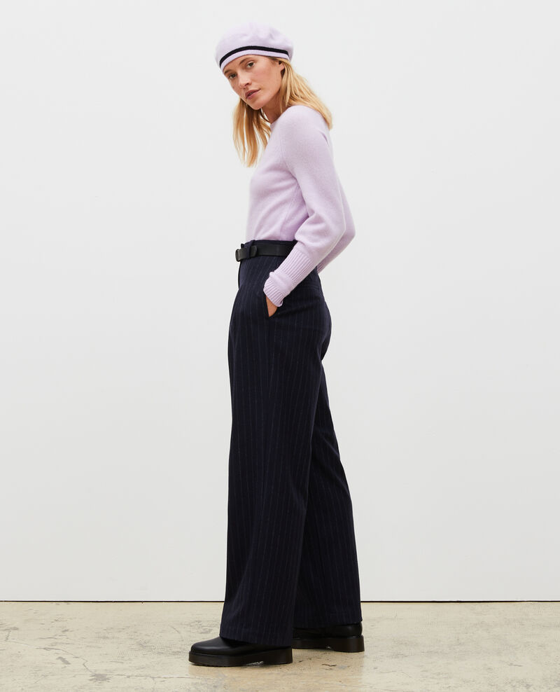 High waisted wide wool trousers YVONNE Stripes night sky Mefari