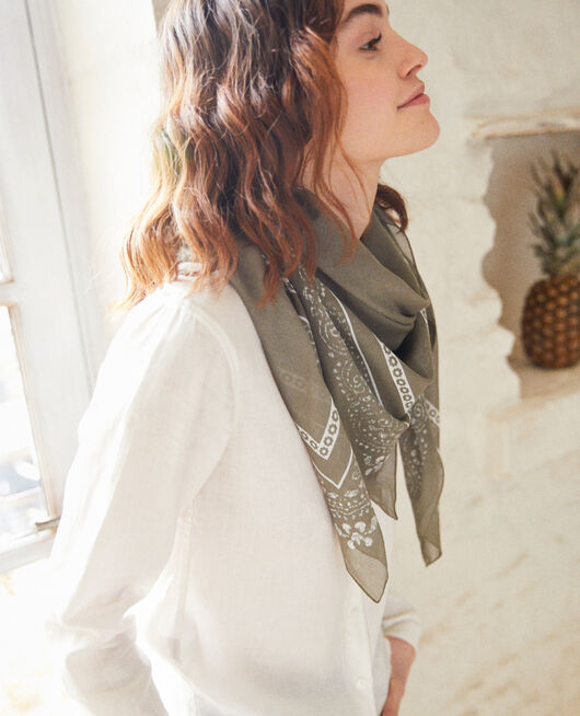 Printed scarf CHENG OLIVE