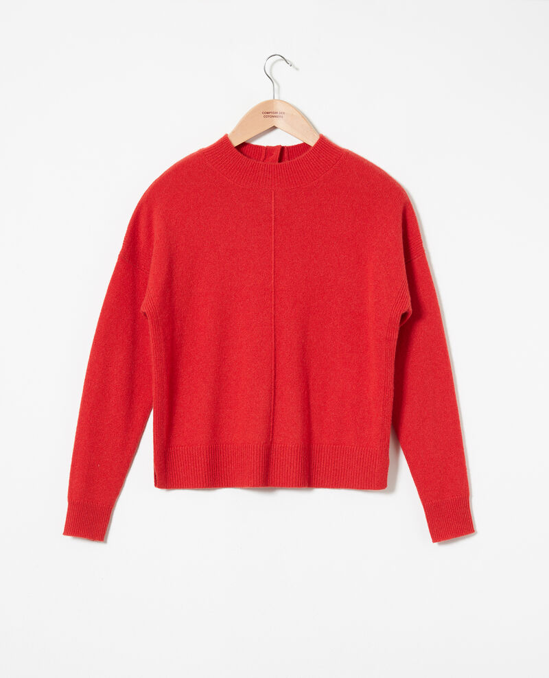 Jumper with buttons on the back 100% cashmere Molten lava Jook
