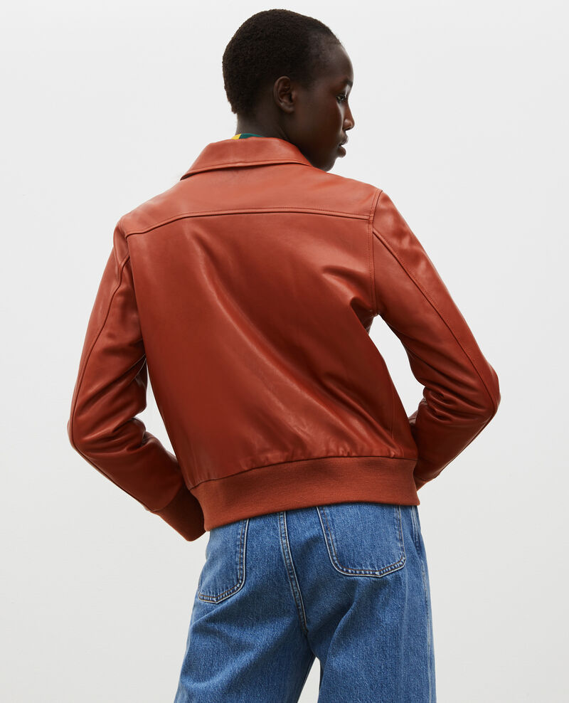 Lambskin zipped jacket. Camel Mettray