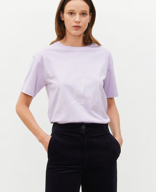 Wide cotton t-shirt PASTEL LILAC
