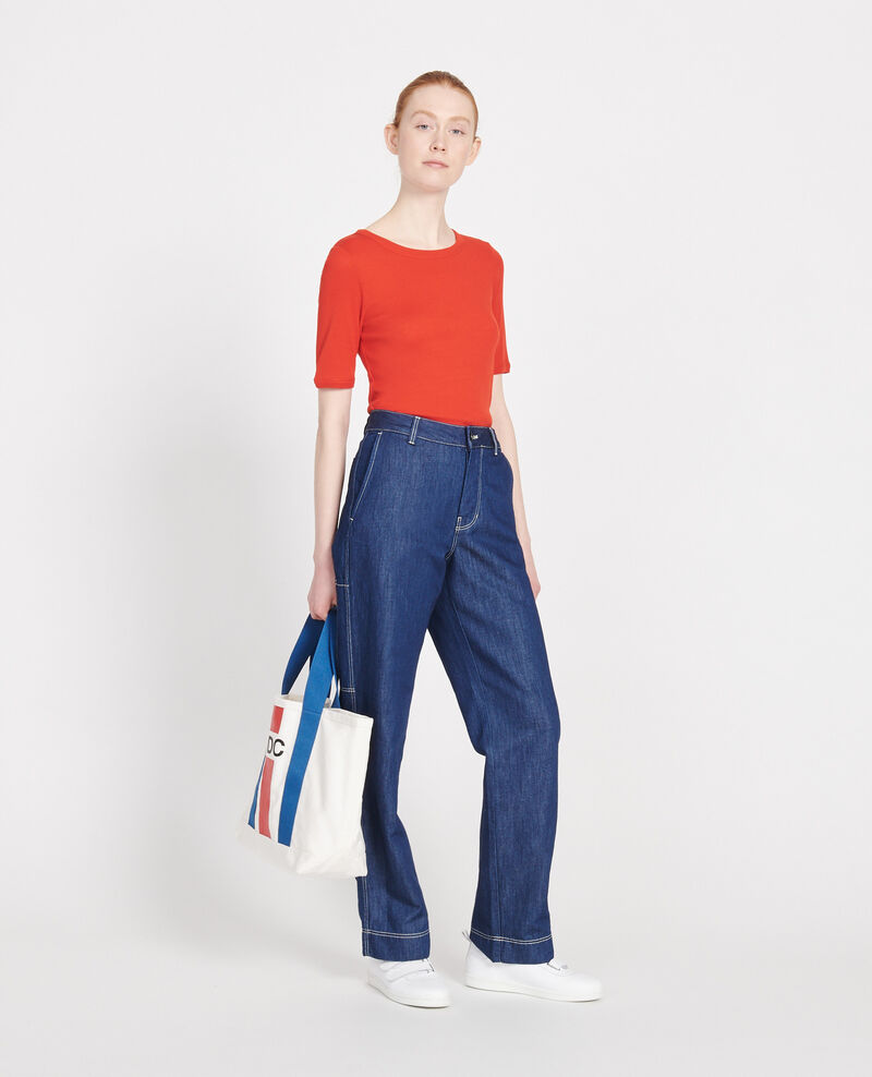 Mercerised cotton ribbed t-shirt Fiery red Lasso