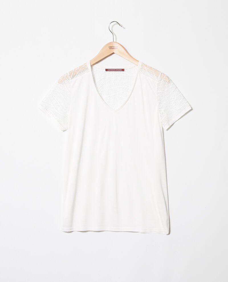 T-shirt with lace  Off white Ipommo