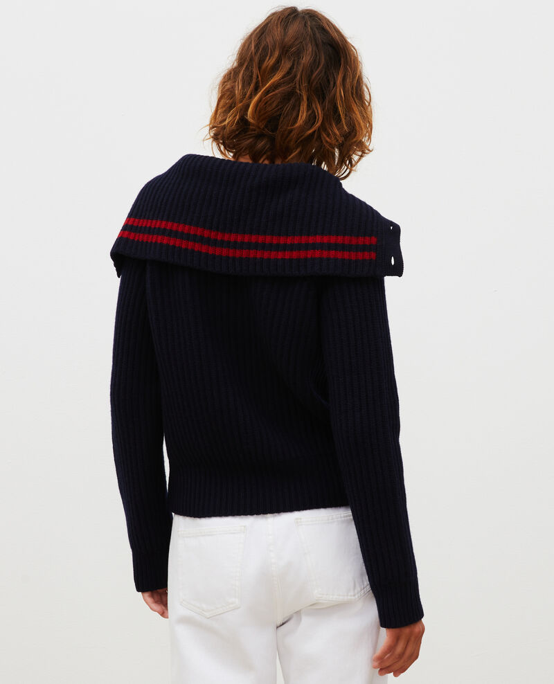 Wool half-neck jumper with a wide collar Night sky Marsani