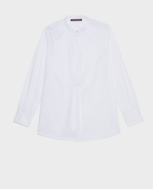 Oversize cotton shirt with bib front BRILLIANT WHITE