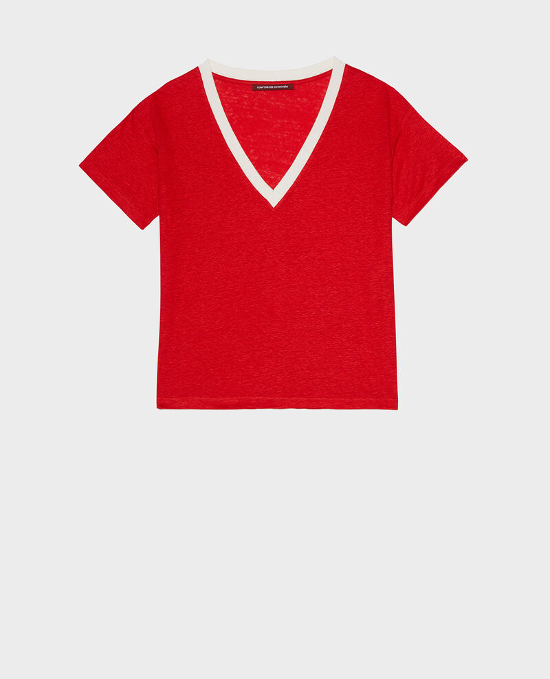Linen V-neck t-shirt Str fieryred gardenia Locmelar