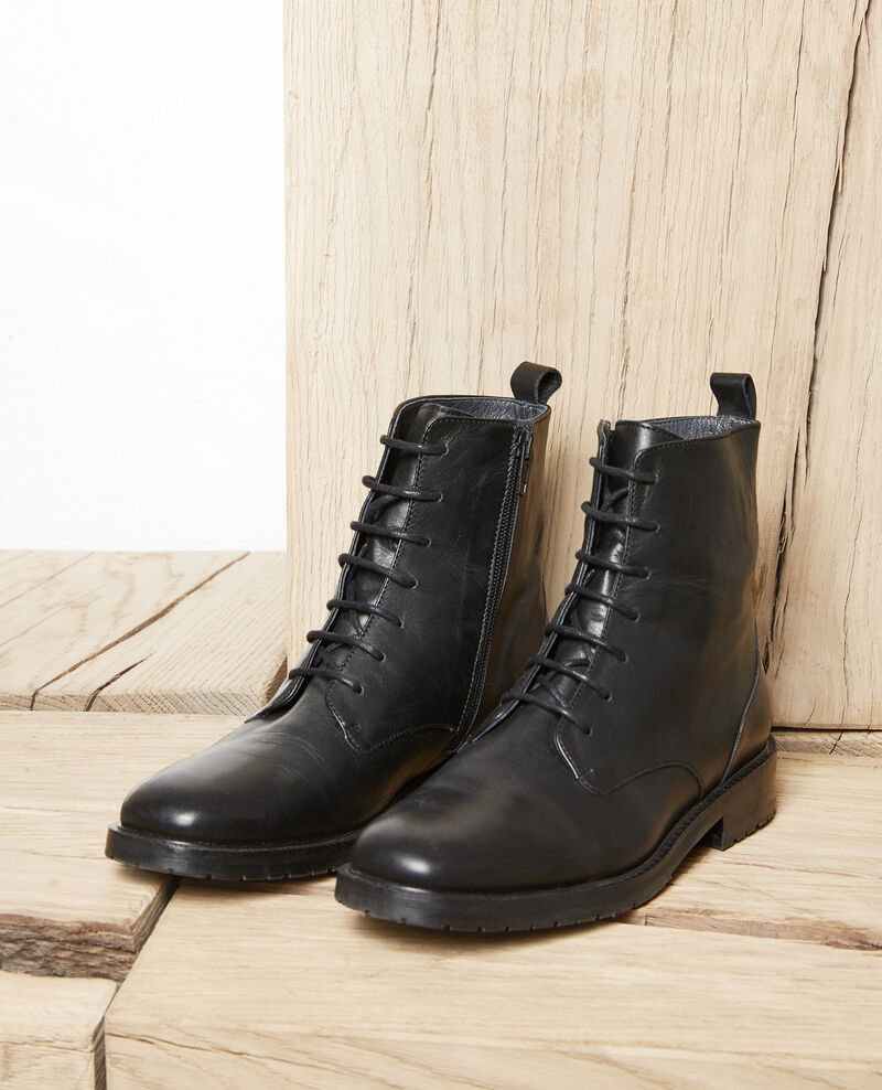 Smooth leather ankle boots Noir Jootsa