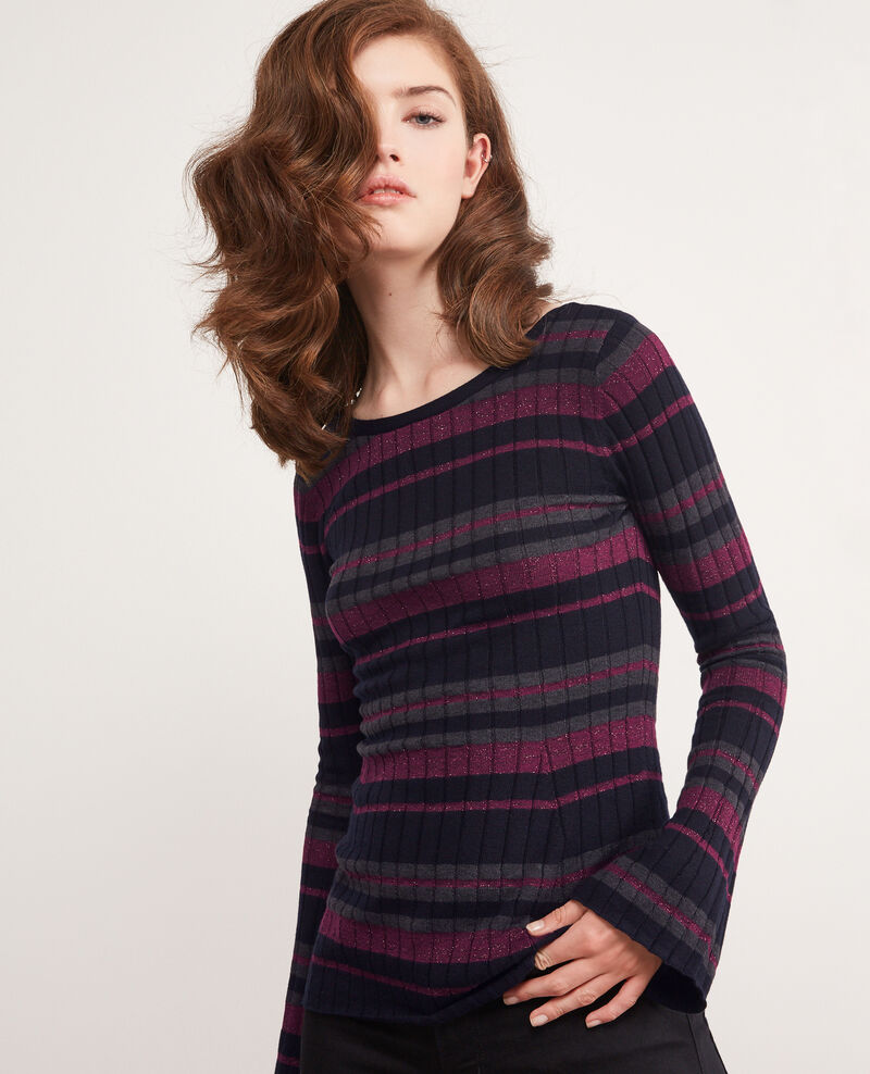 Ribbed wool jumper with high shine lurex inlay Dark navy/gris fonce/purple Diademe