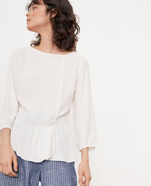 Blouse with round collar White