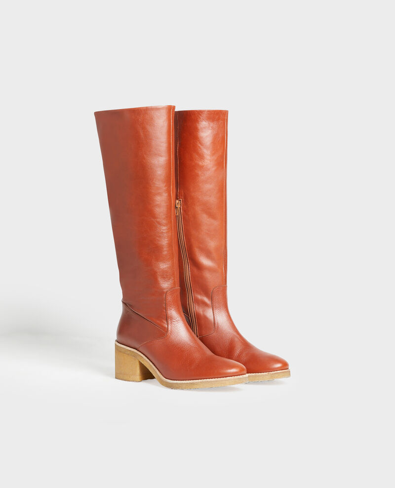 Leather boots with a crepe sole Brandy brown Mayenne