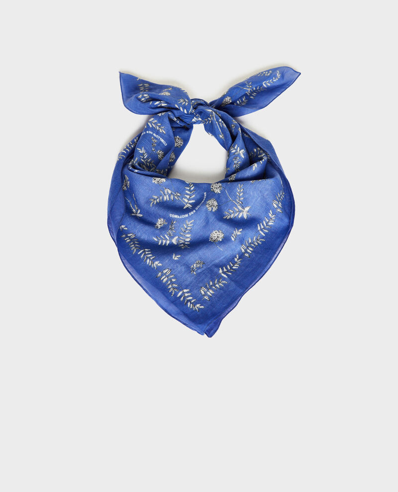 Printed cotton bandana Royal blue Noronille