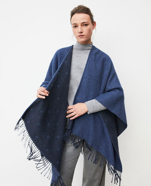 Wool blend cape Blue