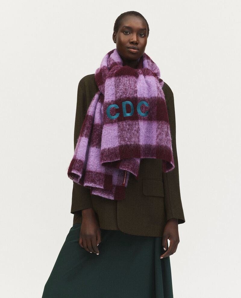 """""""CDC"""" embroidered wool XXL scarf Pastel lilac Maxou"""