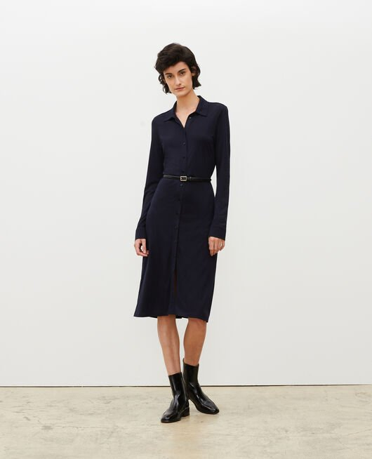 Silk jersey shirt dress MARITIME BLUE