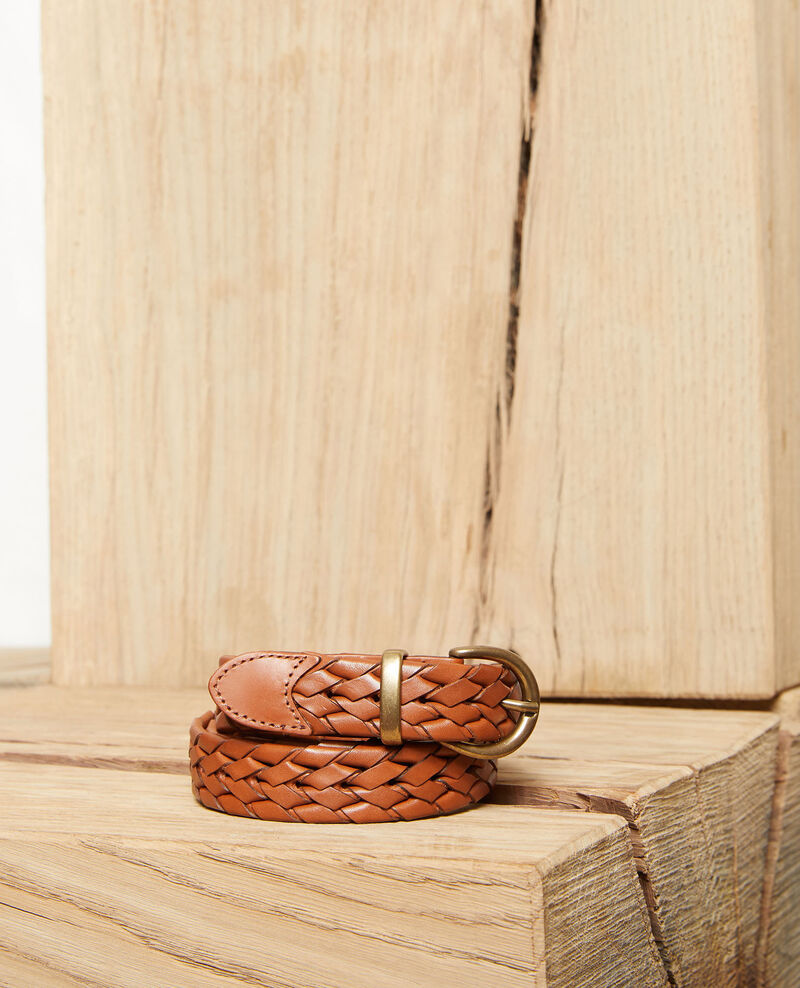 Braided leather belt Camel Jessai