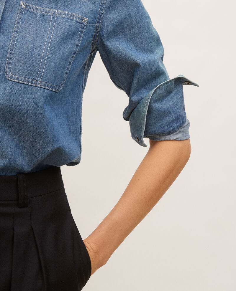 Denim shirt with asymmetric pockets Denim blue Ladigna