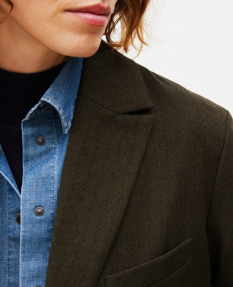 2-button wool boyfriend blazer Military green Mably