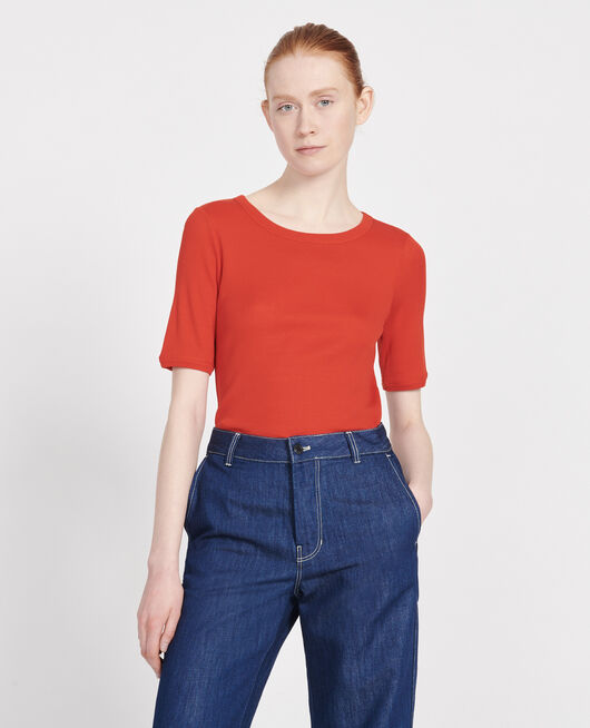Mercerised cotton T-shirt FIERY RED