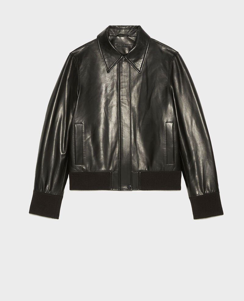Lambskin zipped jacket. Black beauty Mettray