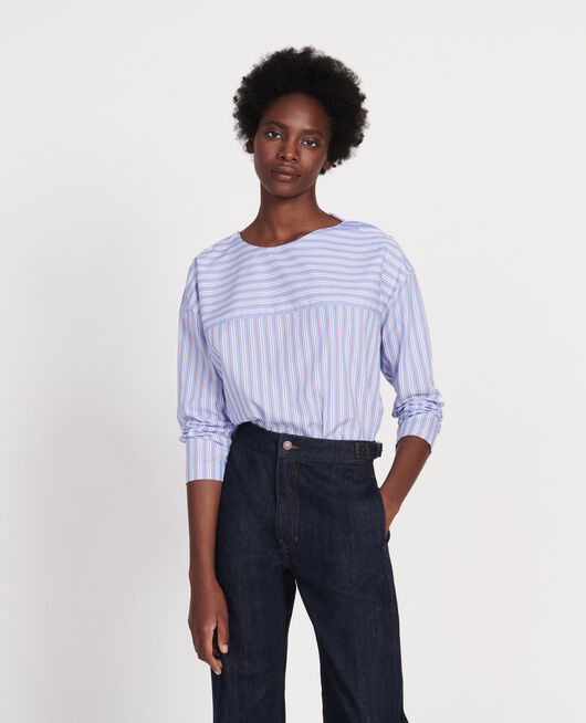 Striped oversize blouse POPELINE STRIPES