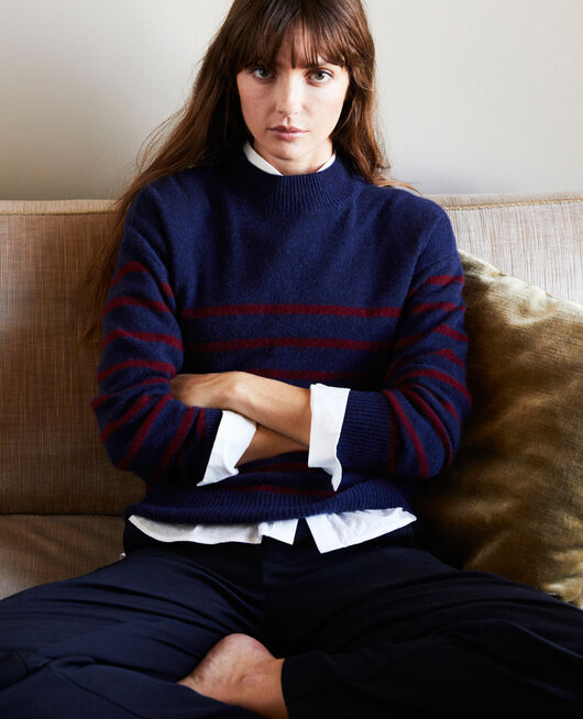 100% Striped cashmere jumper EVENING/CABERNET