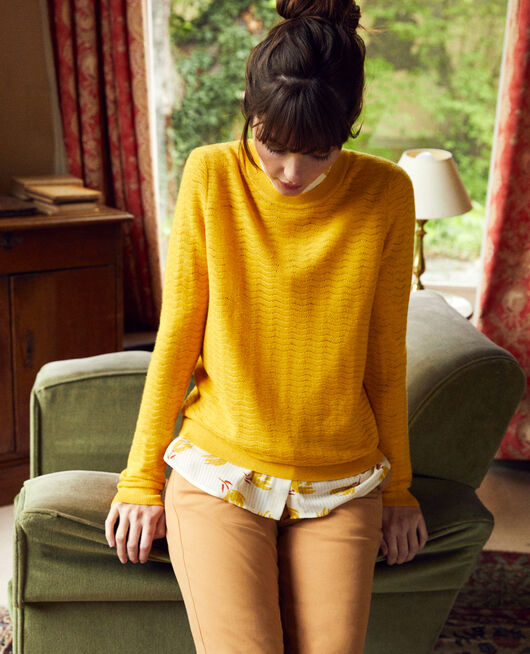 Novelty knit jumper 100% Merino Wool SPICY MUSTARD
