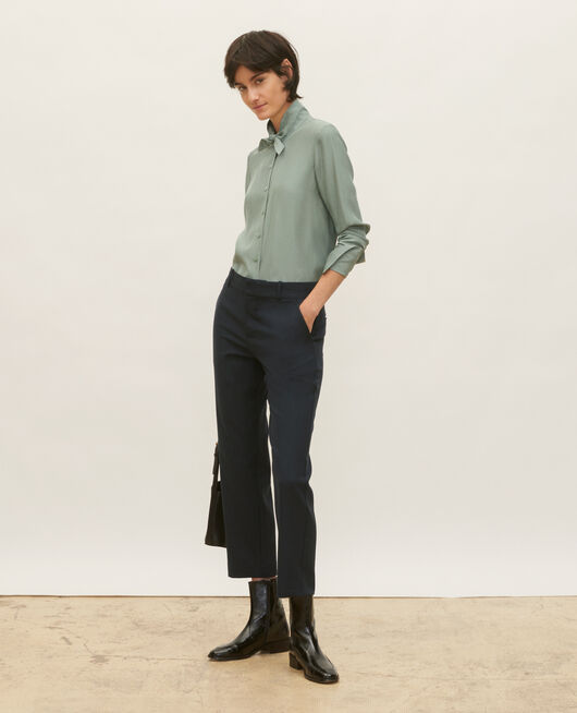 Smooth wool boyfriend trousers DARK NAVY