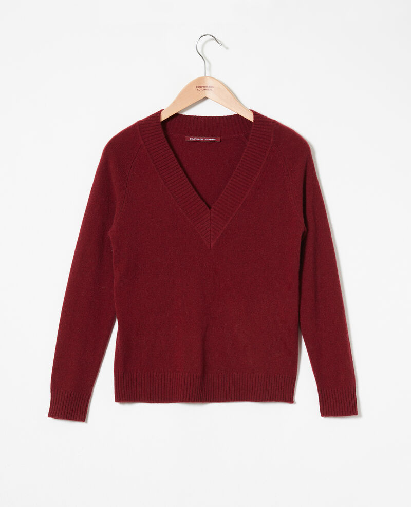 V-neck jumper with wide rib trim 100% cashmere Cabernet Jaye