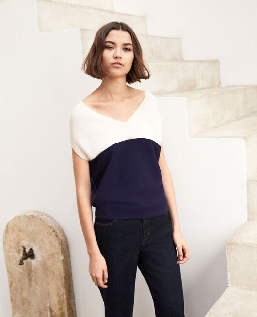 V-cowl neck jumper CHAMPAGNE/NAVY