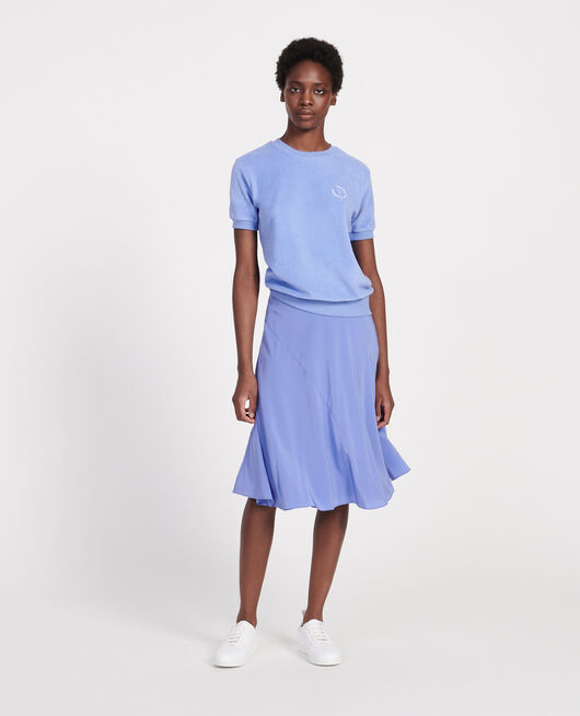 Flared silk bias-cut skirt BAJA BLUE