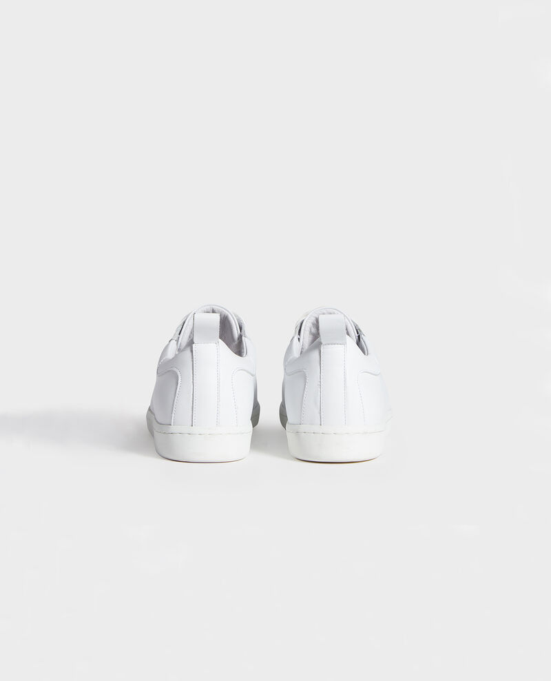 Lace-up leather sneakers Optical white Lead