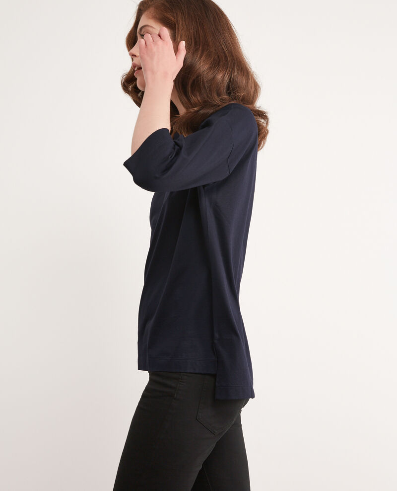 T-shirt with cropped sleeves Navy Dimac