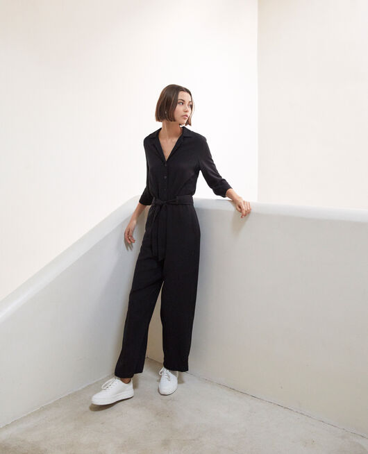 Jumpsuit with lapels NOIR