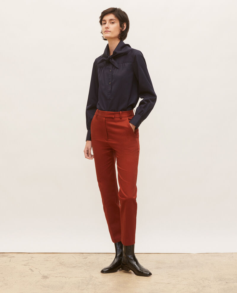 Tapered cotton 7/8 chinos MARGUERITE Brandy brown Mezel